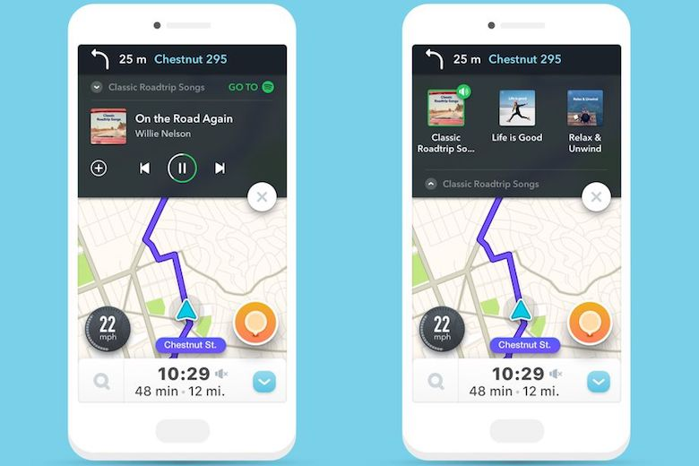 Tela do Waze com funcionalidades do Spotify